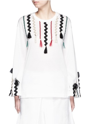 Main View - Click To Enlarge - TOGA ARCHIVES - Squiggle ribbon appliqué flare sleeve T-shirt