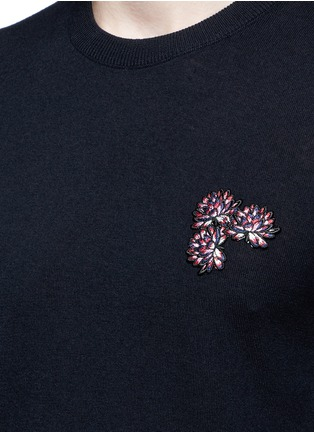 Detail View - Click To Enlarge - Lanvin - Lotus flower embroidery wool sweater