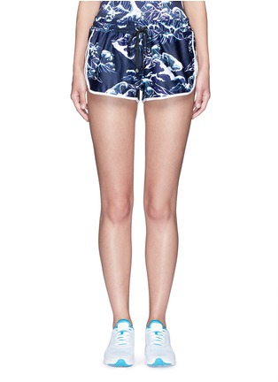 Main View - Click To Enlarge - We Are Handsome - 'The Cascade' tidal wave print active running shorts