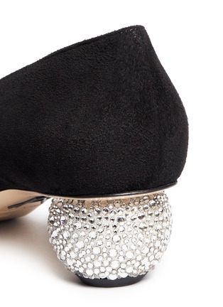 Detail View - Click To Enlarge - PAUL ANDREW - 'Ankara' Swarovski crystal pavé heel suede pumps