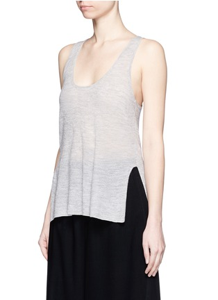 Front View - Click To Enlarge - Helmut Lang - Openwork cashmere knit racerback tank top