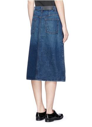 Back View - Click To Enlarge - Helmut Lang - Dark worn denim skirt
