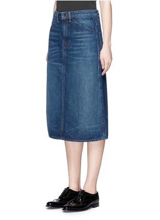 Front View - Click To Enlarge - Helmut Lang - Dark worn denim skirt