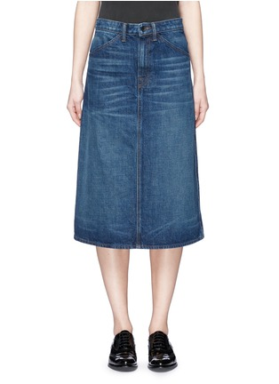 Main View - Click To Enlarge - Helmut Lang - Dark worn denim skirt