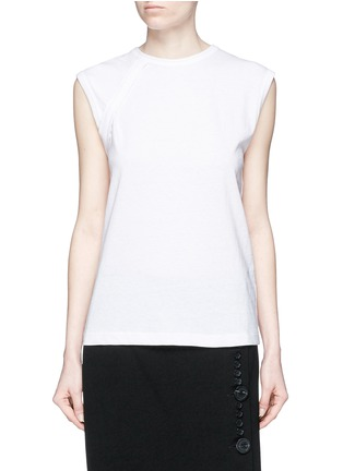 Main View - Click To Enlarge - HELMUT LANG - Vintage cotton jersey strap T-shirt