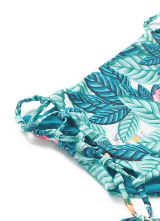 Detail View - Click To Enlarge - Mara Hoffman - Lace-up leaf print high waist bikini bottoms