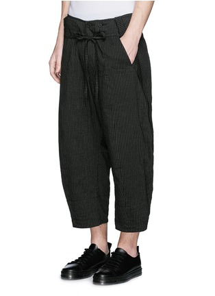 Front View - Click To Enlarge - Ziggy Chen - Pinstripe cotton-linen wide leg pants