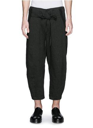 Main View - Click To Enlarge - Ziggy Chen - Pinstripe cotton-linen wide leg pants