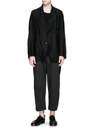 Figure View - Click To Enlarge - Ziggy Chen - Pinstripe cotton-linen wide leg pants