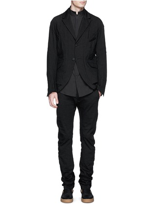Figure View - Click To Enlarge - Ziggy Chen - Duo-layer back vent cotton-linen blazer