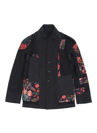 Detail View - Click To Enlarge - Ziggy Chen - Pinstripe cotton-linen blazer