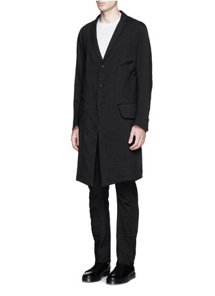 Front View - Click To Enlarge - Ziggy Chen - Peak lapel cotton voile coat