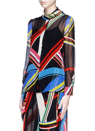 Front View - Click To Enlarge - PREEN BY THORNTON BREGAZZI - 'Vali' multi stripe print blouse