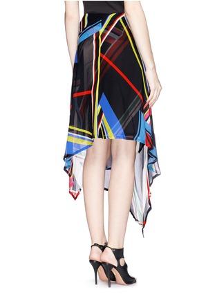 Back View - Click To Enlarge - PREEN BY THORNTON BREGAZZI - 'Simi' multi stripe print irregular hem skirt