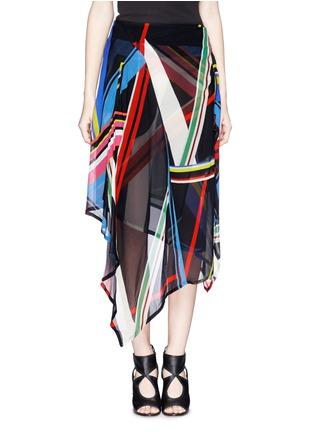 Main View - Click To Enlarge - PREEN BY THORNTON BREGAZZI - 'Simi' multi stripe print irregular hem skirt