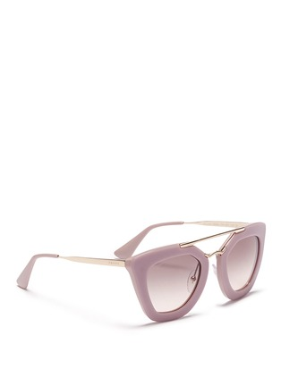 Figure View - Click To Enlarge - PRADA - Metal bridge colourblock acetate sunglasses