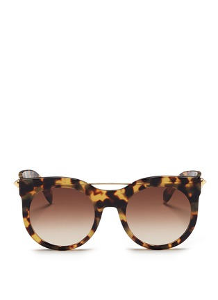 Main View - Click To Enlarge - Alexander McQueen - 'Piercing Bar' round tortoiseshell acetate sunglasses