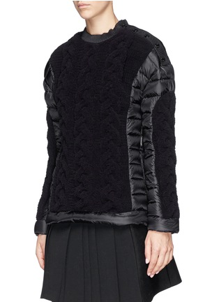 Front View - Click To Enlarge - Moncler - Cable knit quilted down pullover