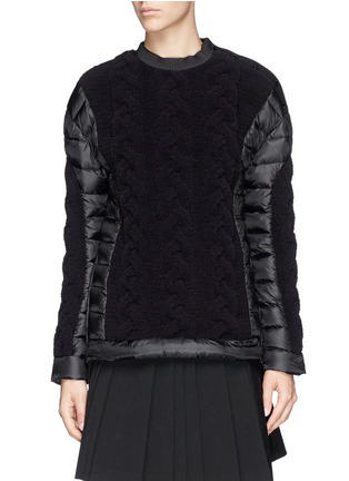 Main View - Click To Enlarge - Moncler - Cable knit quilted down pullover