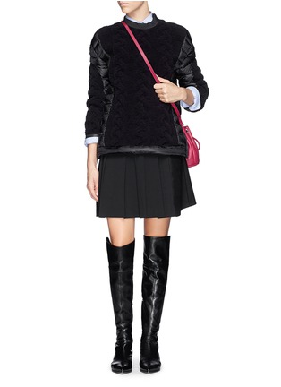 Figure View - Click To Enlarge - Moncler - Cable knit quilted down pullover