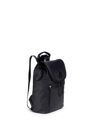 Front View - Click To Enlarge - TORY BURCH - Leather trim nylon backpack