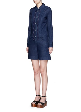 Front View - Click To Enlarge - See by Chloé - Crochet lace placket trim denim rompers