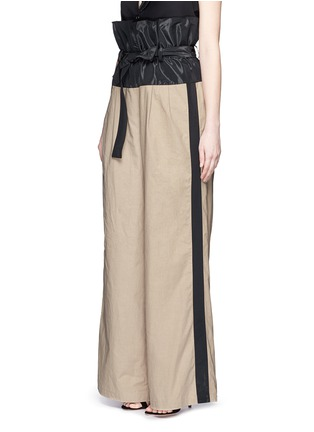 Front View - Click To Enlarge - Tome - Taffeta paperbag waist cotton wide leg pants