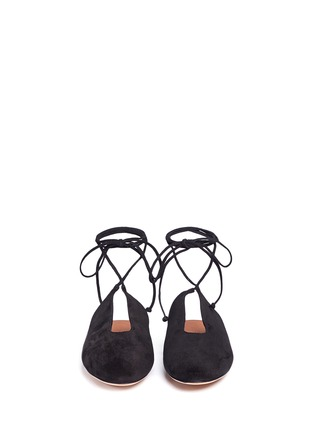 Front View - Click To Enlarge - ROSETTA GETTY - Lace-up suede mules