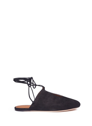 Main View - Click To Enlarge - Rosetta Getty - Lace-up suede mules