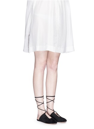 Figure View - Click To Enlarge - Rosetta Getty - Lace-up suede mules
