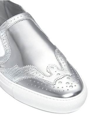 Detail View - Click To Enlarge - Givenchy - 'Skate Basse New' brogue detail metallic leather slip-ons