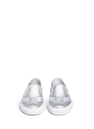 Front View - Click To Enlarge - Givenchy - 'Skate Basse New' brogue detail metallic leather slip-ons