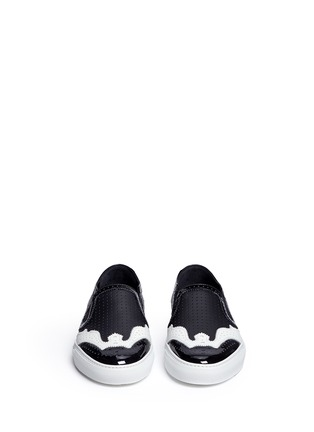 Front View - Click To Enlarge - Givenchy - Contrast brogue leather skate slip-ons