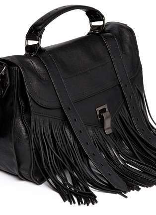 Detail View - Click To Enlarge - Proenza Schouler - PS1' medium fringe leather satchel