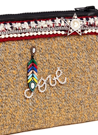 Detail View - Click To Enlarge - Venna - 'Love' pearl star chain embellished bouclé clutch