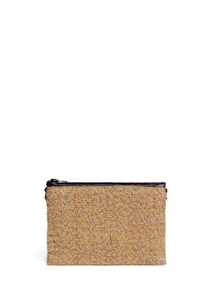 Back View - Click To Enlarge - Venna - 'Love' pearl star chain embellished bouclé clutch