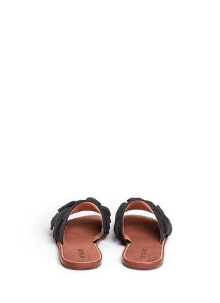 Back View - Click To Enlarge - 10 Crosby Derek Lam - 'Ann' kiltie ruffle suede slide sandals