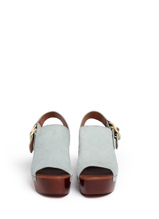Front View - Click To Enlarge - 10 Crosby Derek Lam - 'Fiona' wooden wedge calf hair slingback sandals