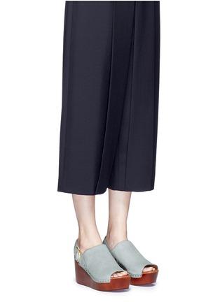 Figure View - Click To Enlarge - 10 Crosby Derek Lam - 'Fiona' wooden wedge calf hair slingback sandals