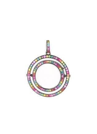 Main View - Click To Enlarge - Loquet London - 14k black gold diamond rainbow revolving locket - 22mm