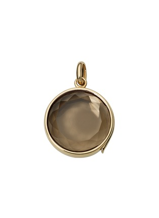 Main View - Click To Enlarge - Loquet London - 14k yellow gold smoky quartz round locket - Medium 18mm