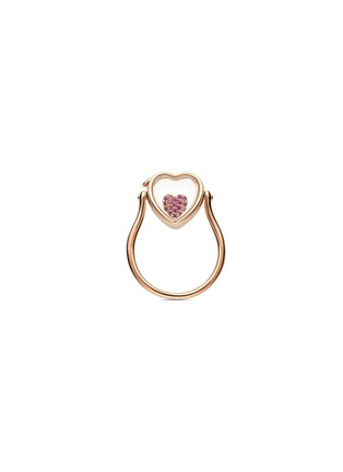Figure View - Click To Enlarge - LOQUET LONDON - 14k rose gold heart locket ring - Small 12mm