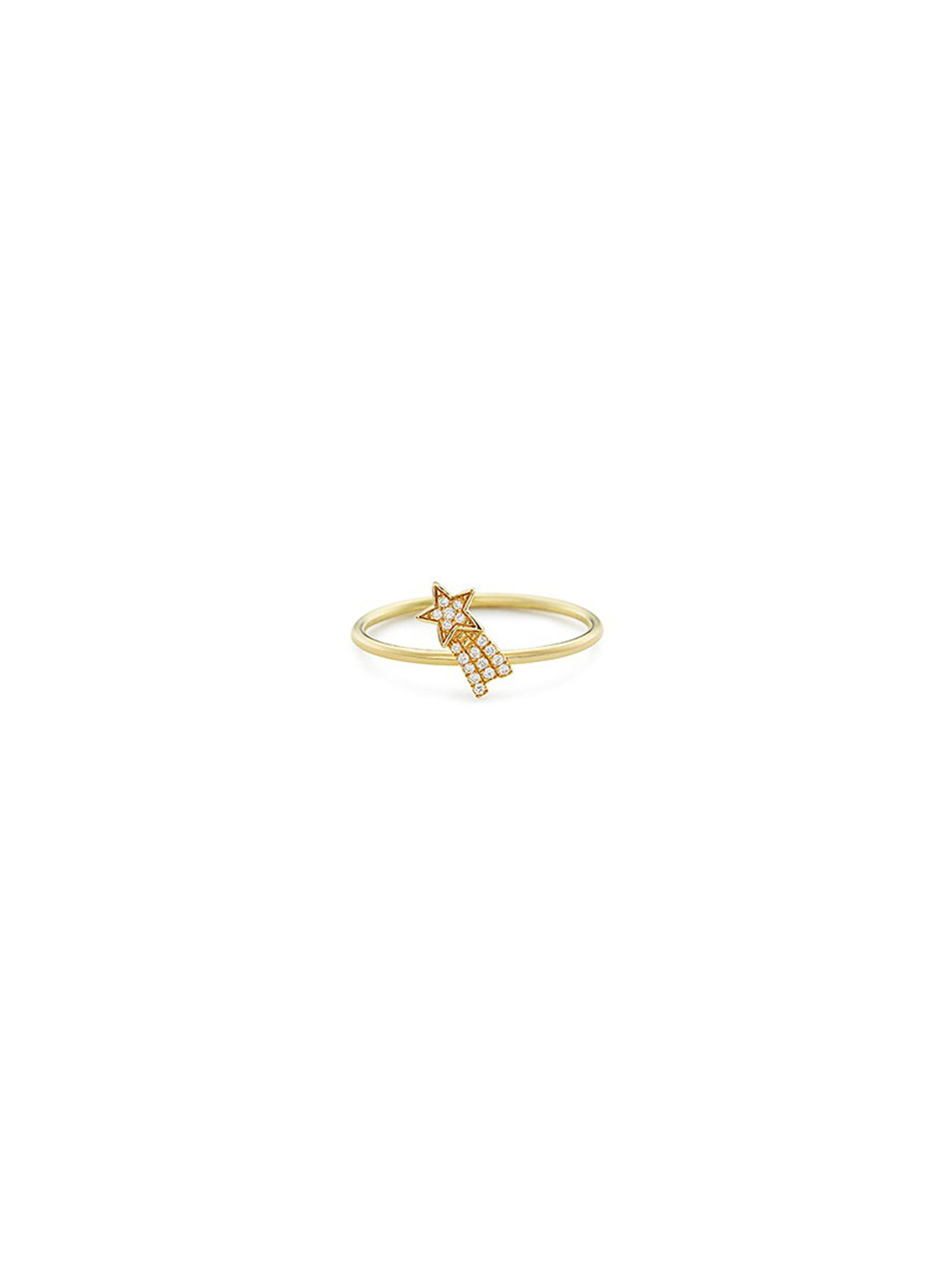 Diamond 18k yellow gold shooting star ring