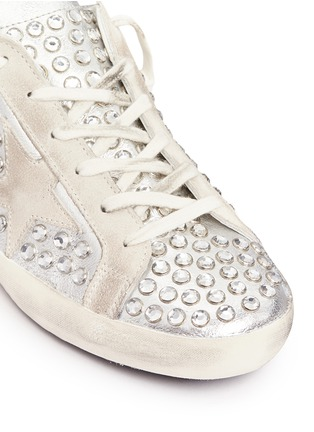 Detail View - Click To Enlarge - Golden Goose - 'Superstar' strass pavé metallic leather sneakers