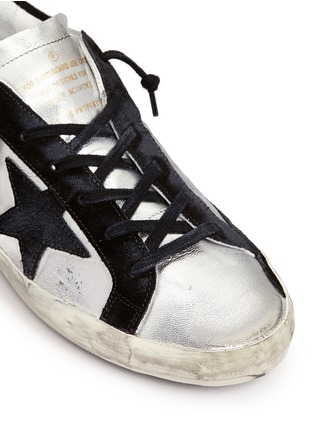 Detail View - Click To Enlarge - Golden Goose - 'Superstar' star patch metallic leather sneakers