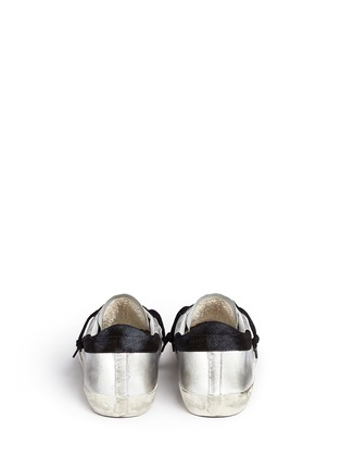 Back View - Click To Enlarge - Golden Goose - 'Superstar' star patch metallic leather sneakers