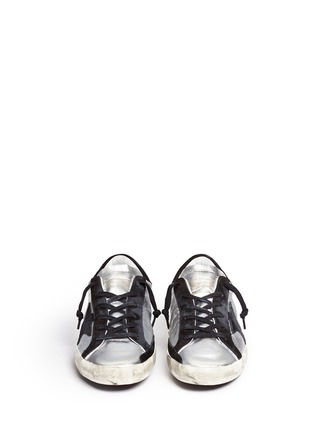 Front View - Click To Enlarge - Golden Goose - 'Superstar' star patch metallic leather sneakers