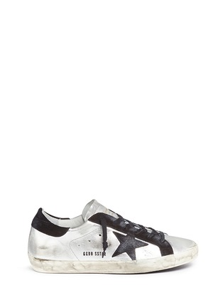 Main View - Click To Enlarge - Golden Goose - 'Superstar' star patch metallic leather sneakers