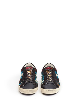 Front View - Click To Enlarge - Golden Goose - 'Superstar' suede trim paillette sneakers