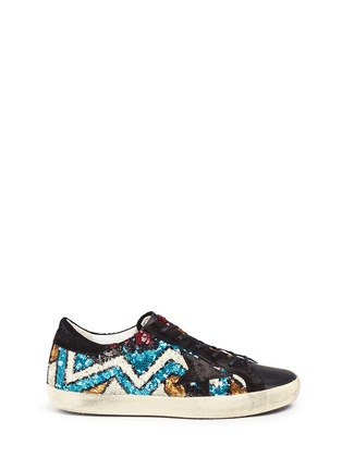 Main View - Click To Enlarge - Golden Goose - 'Superstar' suede trim paillette sneakers